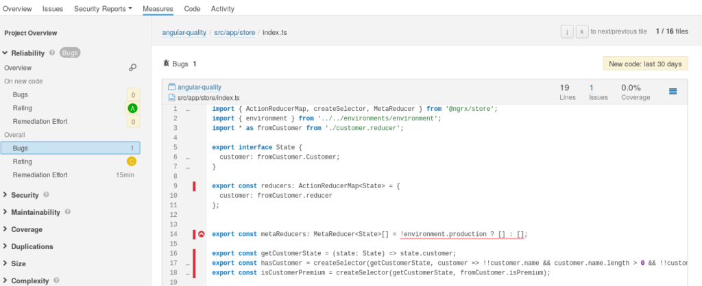 Fig. 4: Example for the reporting of a bug or code smell by SonarQube.
